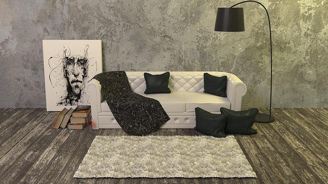 kožešina na gauči